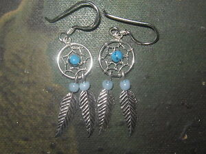Pair  Of  Sterling  Silver  925   Dreamcatcher  Dangly  Earrings  ! New !