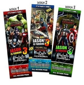 Details About THE AVENGERS BIRTHDAY INVITATION PARTY TICKET CUSTOM PERSONALIZED INVITES
