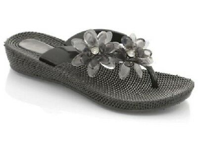 LADIES BLACK FLOWER WEDGE TOE POST MULE FLIP FLOPS SANDALS SIZE 3,4,5,6,7,8