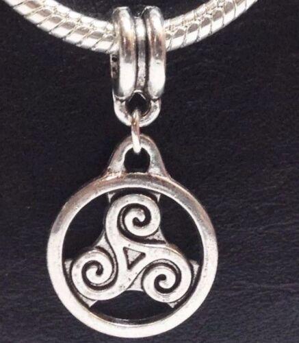 TRISKELION/_Bead for Euro Charm Bracelet/_Triskele Celtic Irish Pagan Knot Spiral