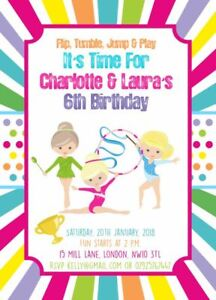 10 x personalised gymnastics birthday party invitations or thank you