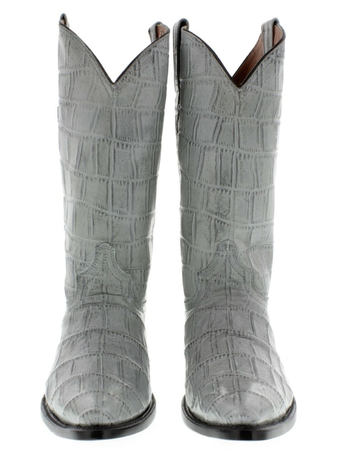Mens Gray Crocodile Belly Print Western Leather Cowboy Boots Pointed Toe 13.5