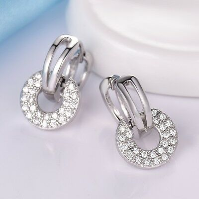 Unique leverback wedding/&party amazing 18K white gold filled peridot earring