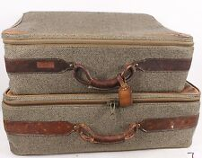 "Vintage Hartmann Belting Set of 2 Tweed/Leather Suitcase Luggage Trunk 24"" & 26"""