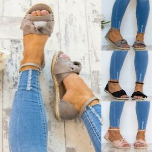 Womens-Ankle-Strap-Peep-Toe-Bowknot-Espadrilles-Flat-Summer-Beach-Sandals-Shoes