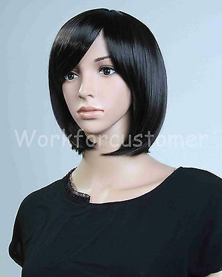 Attack on Titan Mikasa Ackerman Cosplay Black Short Bobo Synthetic Full Wig