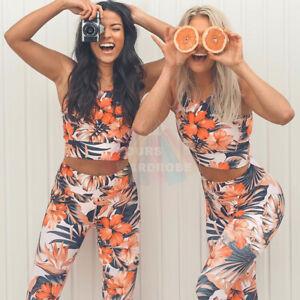 Womens-Floral-Yoga-Workout-Set-Fitness-Gym-Running-Sport-Bra-Pants-Leggings-Suit