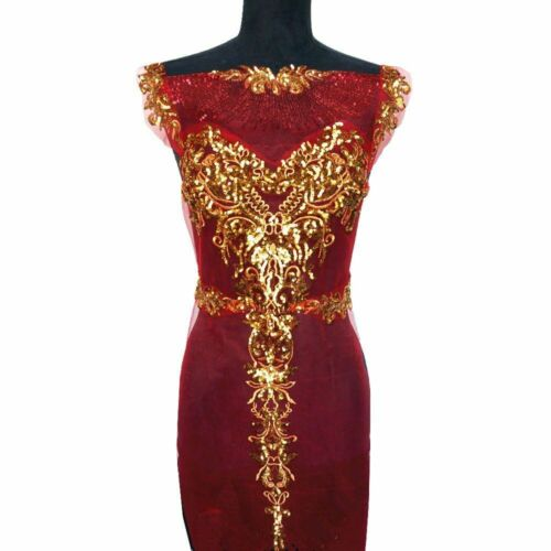 Gown Applique Patch Gold Sequin Lace Fabric Mesh Embroidered Wedding Dress Decor