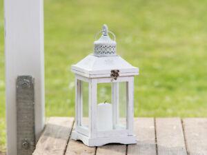 Lanterna romantica 37 cm lanterna da giardino legno bianco paralume