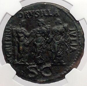 CALIGULA-3-Sisters-Sestertius-DRUSILLA-AGRIPPINA-NGC-Certified-Roman-Coin-i54741