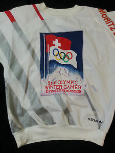 Details about Adidas Vintage Olympic Winter Games St Moritz 1928 crewneck sweater 1980's