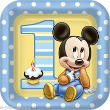 MICKEY MOUSE 1st BIRTHDAY LARGE PAPER PLATES (8) ~ Party Supplies Lunch Dinner
