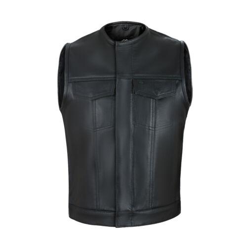 Details about  /Collarless Cut off Black Mens Vest Waistcoat Gilet Biker Motorcycle Leather YKK