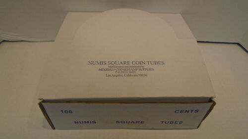 Box of 100 Meghrig Numis Square Coin Tubes Holder Cent Penny 1c 19mm