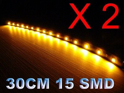 2 x12 inch Led strip Grill Car Truck Boat  Decorated Flexible LED Strip Amber
