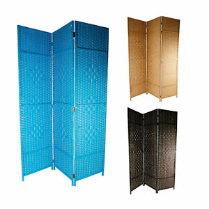 3teiliger-Paravent-Raumteiler-aus-Holz-drei-Farben-Spanische-Wand-Sichtschutz