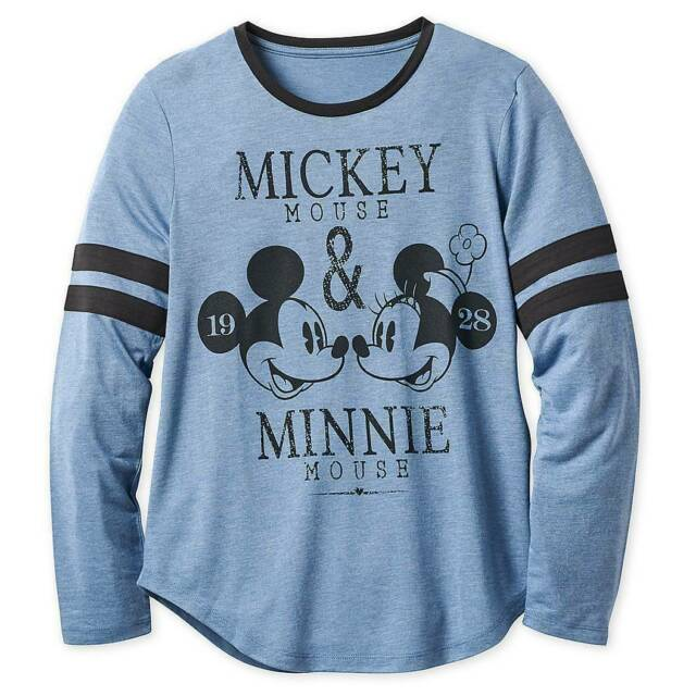 Disney Jersey Womens Mickey or Minnie Mouse Long Sleeve
