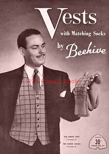 Men-039-s-Knitted-Vests-w-Matching-Socks-Knitting-Patterns-Beehive-Book-No-64-on-CD