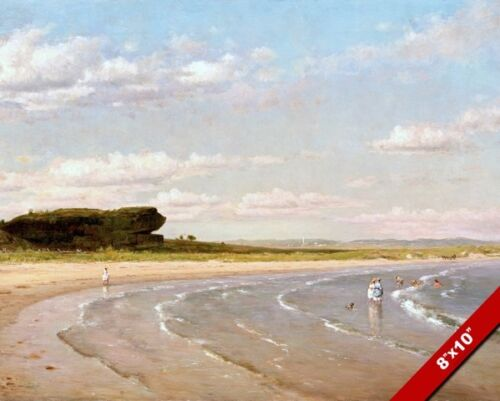 WADING IN AT SECOND BEACH NEWPORT RHODE ISLAND PAINTING ART REAL CANVAS PRINT