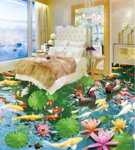 3D Koi patos Lotus 53 Papel Pintado Mural Parojo Piso impresión 5D AJ Wallpaper Reino Unido Limón