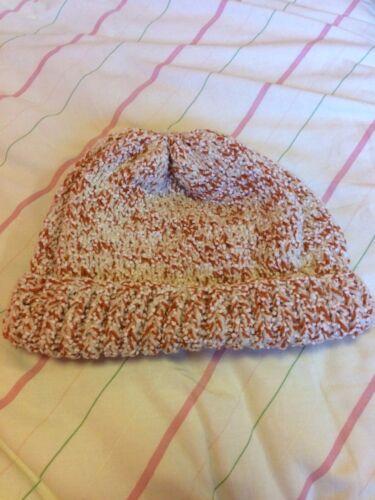 De rouille et blanc tricoté à la main woollie Chapeau-Taille Unique