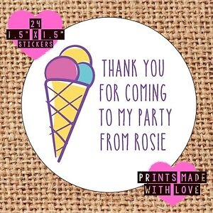 Personalised ice cream cone 24 party bag stickers sweet cone labels thank you