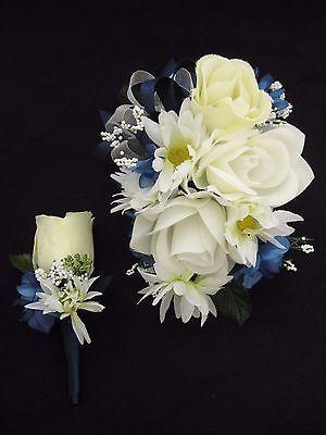 Wedding Prom Navy White Rose Flowers Wrist Corsage Boutonniere Set