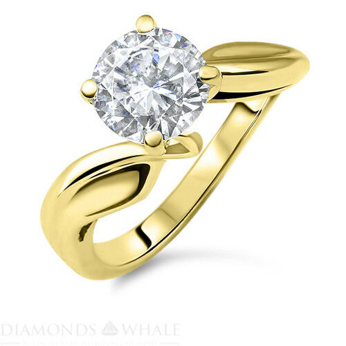 Engagement Diamond Ring Enhanced Real Diamond 0.5 CT VS1 F Yellow gold 14K
