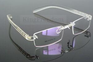 rimless eyeglass frames  Transparent Eyeglass Frame Clear Glasses Rimless Retro Spectacles ...