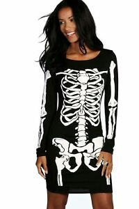 UnabhäNgig Ladies Womens Halloween Black Skeleton Skull Bones Midi Tunic Bodycon Dress