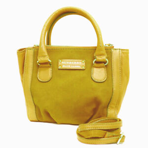 Burberry Blue Label Yellow Canvas And Leather two-way Crossbody Bag