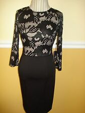 Adrianna Papell Long Sleeve Black Lace Cocktail Sheath Dress Sz 14 Retail $160
