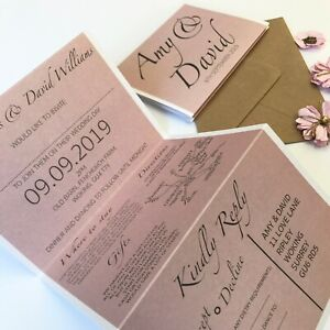Rose Gold Pink Day Or Evening Personalised Wedding Invitations Concertina Fold Ebay