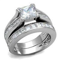 925 Sterling Silver Princess Cz Wedding Engagement Ring Guard & Band Set 2.10ct