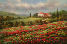 "Oil Painting of Landscape House Trees on Red Poppy Flowers Field 24x36"" Canvas"