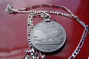 """pre 1941 Mussolini Era ITALIAN EAGLE COIN on a 28"""" .925 Sterling Silver Chain"""