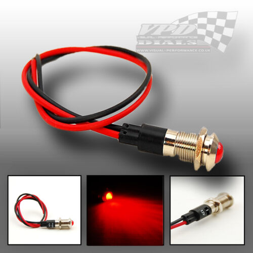 Red led light bulb dash panel warning indicator chrome lamep 12v  display