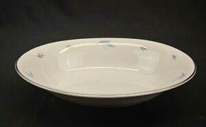 Syracuse China Celeste 10 inch Oval Serving Bowl White Blue Leaves Platinum Trim