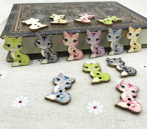 100pcs-Wood-Buttons-Cartoon-Cat-Fit-sewing-scrapbooking-Wooden-crafts-27mm