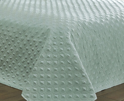 DUCKEGG BEDSPREAD SET QUILTED FAUX SILK CIRCLE DIAMOND GEOMETRIC BLUE MINT GREEN