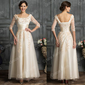 Image Is Loading Vintage 50s LACE Wedding Prom Dress Long Formal