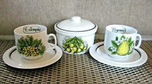 Porcelaine-D-039-Auteuil-Fruits-du-Jardin-Demitasse-Cups-Saucers-amp-SB-Jacques-Lobjoy