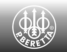 "Beretta Vinyl Decal white Sticker Gun Pistol Car Window 4.25"" round USA made"