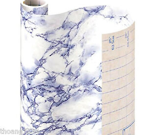 Blue Grey Marble Self Adhesive Vinyl Contact Paper Shelf