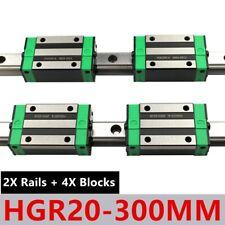 Linear Rail 2x Hgr20 300mm Linear Guide 4x Hgh20ca Bearing Block For Cnc Diy