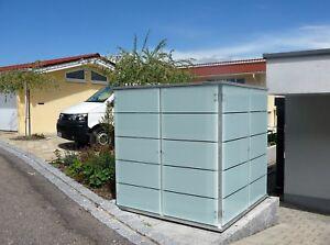 Details zu Design-Gartenhaus Glas Gartenschrank Gerätehaus modern exklusiv  Metall Flachdach