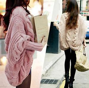 Batwing-Top-Poncho-Chic-Womens-Knitwear-Cardigan-Long-Sleeve-Knit-Cape-Sweater
