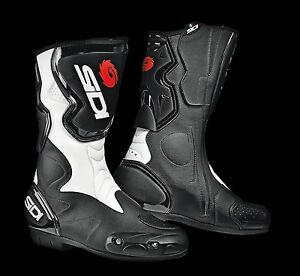 NEU-SIDI-Motorradstiefel-Fusion-schwarz-weiss-Gr-40-Racing-Motorrad-Stiefel-NEW