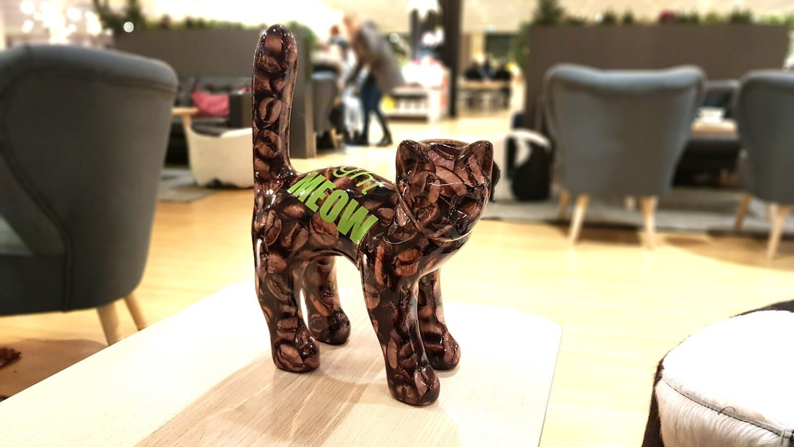 Cat Coffe Right Right Right Meow Unique Handmade Sculpture édition limitée, no 4/40. 40274b
