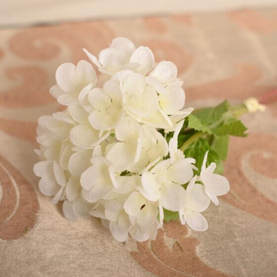 Party Bridal Wedding Home Decor Artificial Hydrangea Bouquet Silk Flowers white